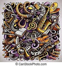 karikatura, vektor, doodles, klasik, hudba, ilustrace