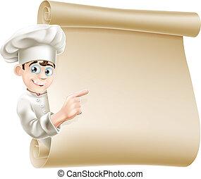 karikatura, vrchní kuchař, a, menu