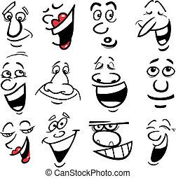 karikatura, vzrušení, ilustrace