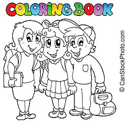 karikaturen, schule, farbton- buch, 6