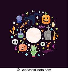 karikaturen, ungefähr, design, kreis, halloween, vektor