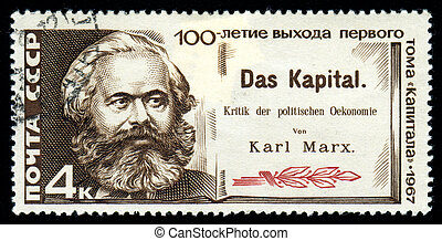 Karl Marx and Capital on a 1967 soviet stamp