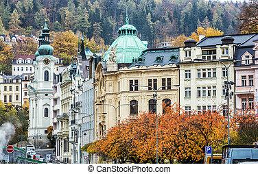 Karlovy Vary with Church of Saint Mary Magdalene, Czech