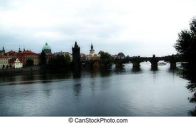Manipulated photo of the famous karlsbridge in prague.