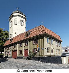 Karlshamn Karl Gustavs Church Belltower Behind Building