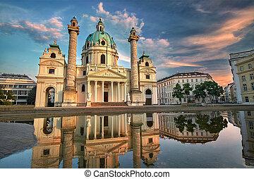 Karlskirche in Vienna, Austria at Sunset. St. Charles's Church