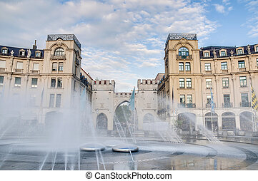 Karlsplatz square located in Munich, Germany