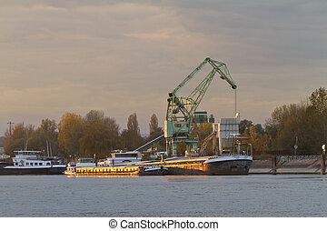 karlsruhe, 德國, 駁船, rhein, 傍晚, 河