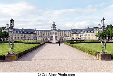 karlsruhe castle with park and fountain