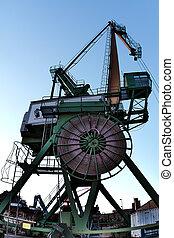 karlsruhe, dockside, 港口, 德國, 內部, 起重機