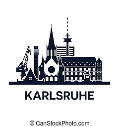 Karlsruhe, Gemany. City skyline, dark solid color