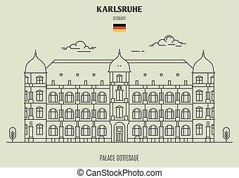 karlsruhe, palais, repère, icône, gottesaue, germany.