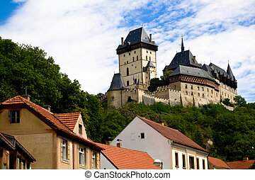 Karlstein castle and old roofs