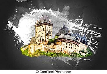 karlstejn 城堡, 上, 綠色的小山, 布拉格