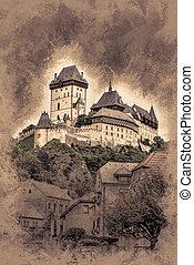 Karlstejn castle on green hill, Prague, Czech Republic....