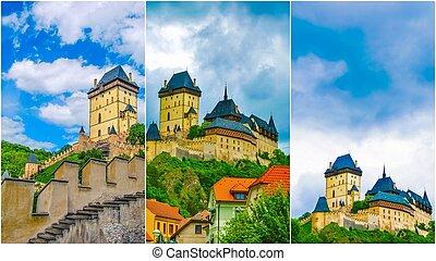 Karlstejn castle on green hill, Prague