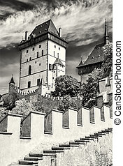 Karlstejn is a large gothic castle, colorless - Karlstejn is...