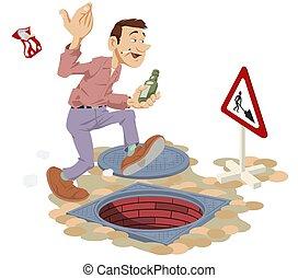 karma., 人们。, 下水道, manhole., 有趣, 打开