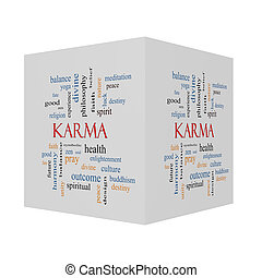 Karma 3D cube Word Cloud Concept