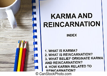 Karma and Reincarnation concept- -with topics on a cover sheet of a lecture.
