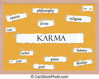 karma, corkboard, ord, begrepp