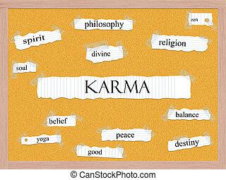 karma, corkboard, palavra, conceito
