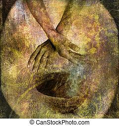 Karma - Hand with bowl and smoke. Photo based illustration.