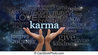 karma, jouw, handen