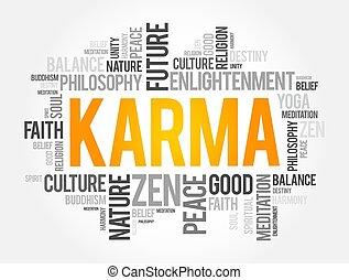karma, plano de fondo, concepto, palabra, nube, collage, religión