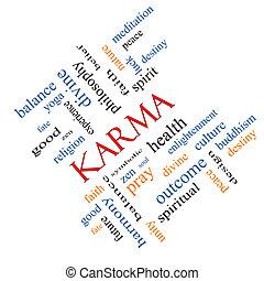 karma, woord, wolk, concept, hoekig