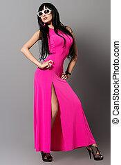 karmosin, klänning