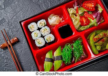 karmowa japonka, styl, lunch, bento, vegeterian, zdrowy, różny, boks