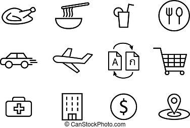 karmowe ikony, i, inny, w, linearny, styl, wektor, sztuka