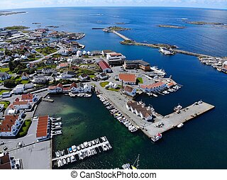 Karmoy, Norway - Akrehamn harbor drone view