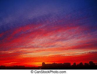 karmozijnrood, sunset.