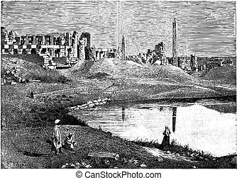 Karnak (Egypt) ruins of the great temple and obelisk, vintage engraving.