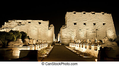 Karnak temple in Luxor at night - Ancient egyptian temple of...