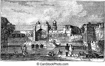 karnataka, bijapur, vendimia, india, durante, 1890s, ruinas...