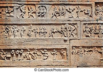 karnataka, hampi, indie, stan, szczegóły, świątynia