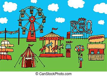 karnawał, park, rysunek, rozrywka, /