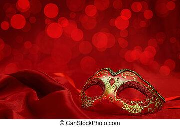 karneval, årgång, maskera, venetiansk, bakgrund, röd