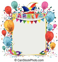 karneval, carta, dorato, cornice, palloni
