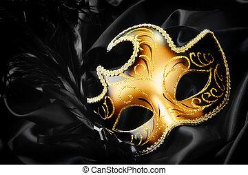 karneval maskera, på, svart, silke, bakgrund