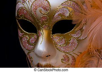karneval schablone, auf, a, schwarz, hintergrund.