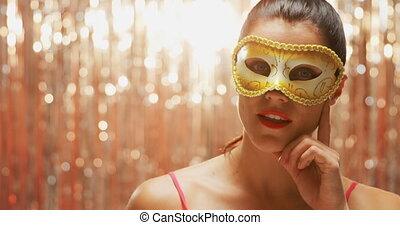 karneval schablone, tragen, frau, junger