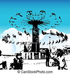 karneval, svinge, riders