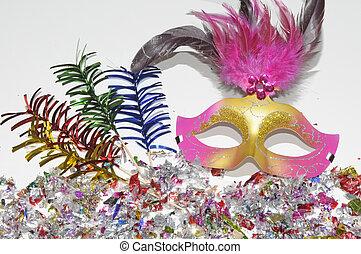 Karnevalsmasken und Konfetti