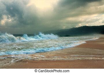 karon, phuket, spiaggia., island., thailand., tempesta