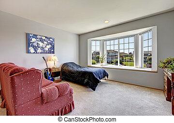 Karosszék, ágy, nagy, ablak, hálószoba, kicsi