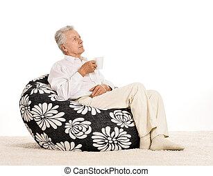 karosszék, ember, öregedő, ülés